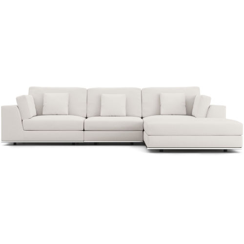 Perry Chalk Fabric Sectional Three Seat Sofa with Ottoman