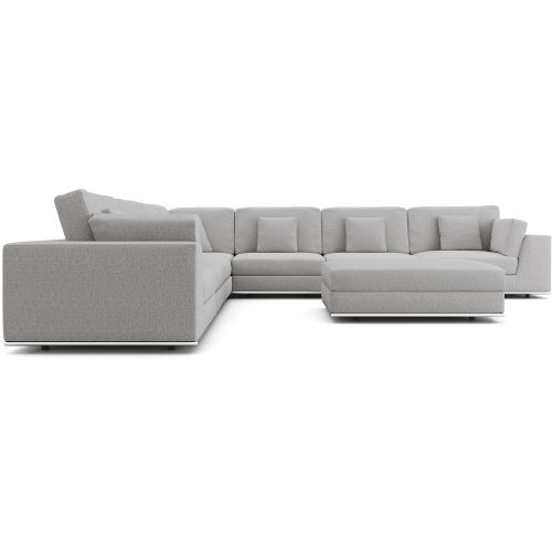 Perry Gris Fabric Sectional Large Two Arm Corner Sofa with Ottoman