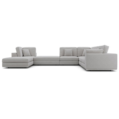 Perry Gris Fabric Sectional Two Corner Sofa