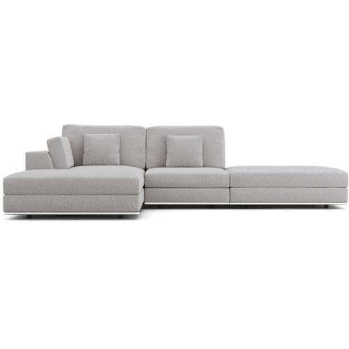 Perry Gris Fabric Sectional Open Sofa With Ottoman