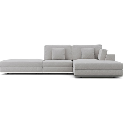 Perry Gris Fabric Sectional Sofa With Ottoman