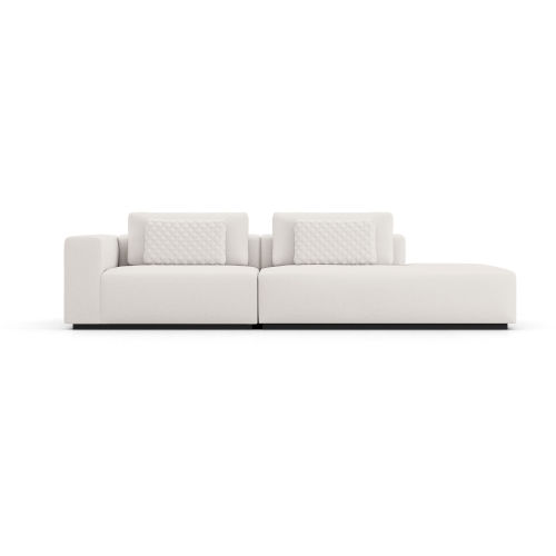 Spruce Chalk Fabric Left-Arm Sectional Sofa with End Unit