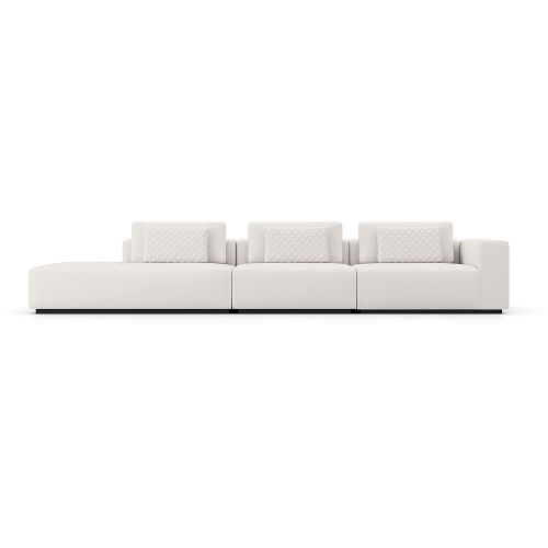Spruce Chalk Fabric Right Arm Sectional Sofa with End Unit