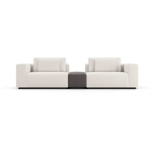 Spruce Chalk Fabric Sectional Two Seat Sofa with Armrest