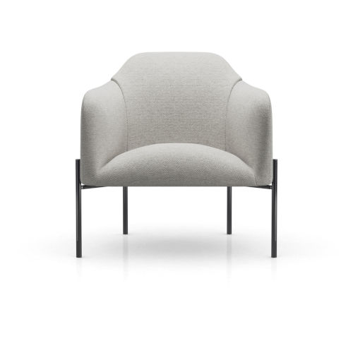 Tiemann Silver Gray Fabric Lounge Chair