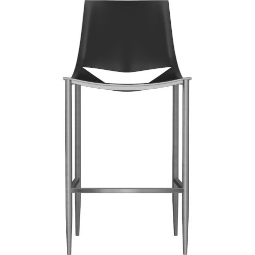 Sloane Black Leather and Carbon Steel Bar Stool