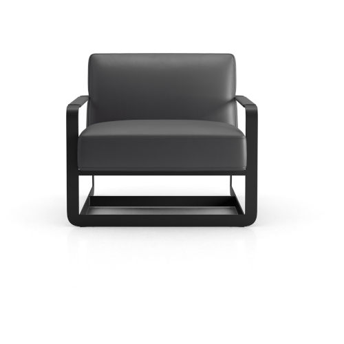 Crosby Graphite Leather Lounge Chair