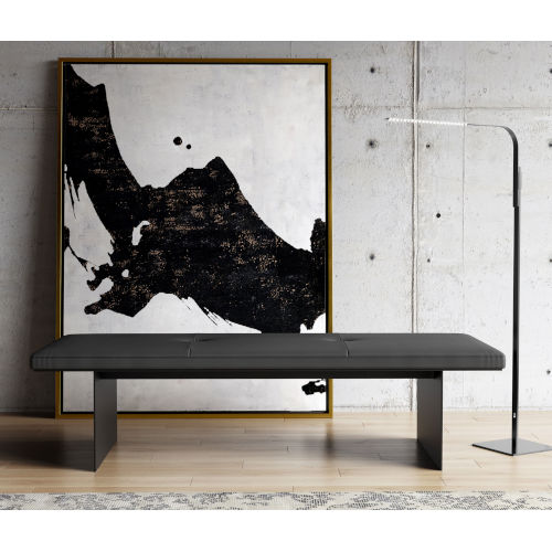 Chambers Graphite Leather 63-Inch Bench