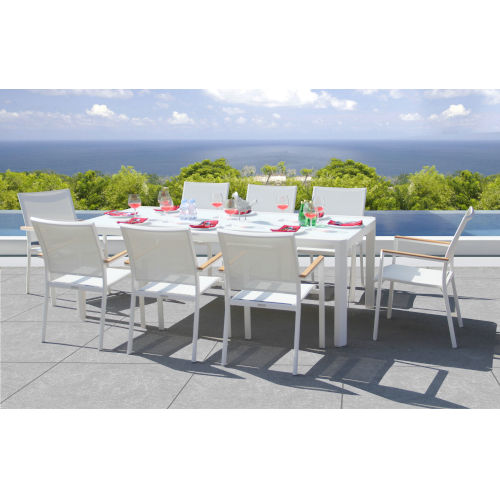 Essence White Outdoor Dining Set with Savoy Extension Table, 9-Piece