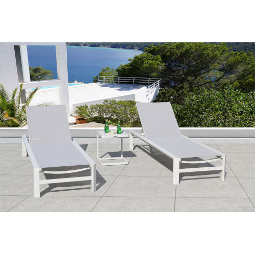 Essence Mouse Grey Outdoor Chaise Lounge Set, 3-Piece