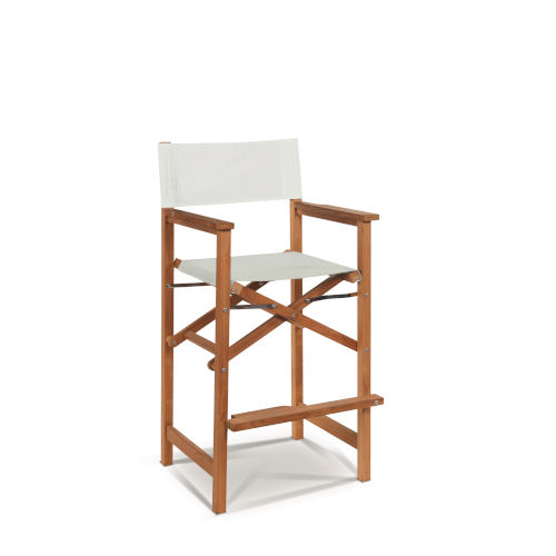Director Natural Sand Teak White Outdoor Counter Height Stool