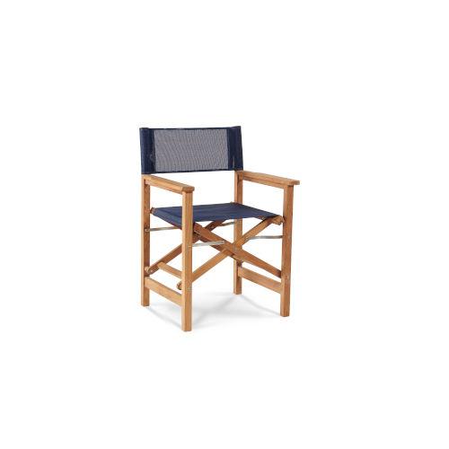 Director Blue Teak Folding Outdoor Chair