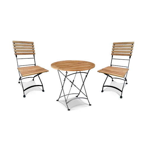 Balcony Nature Sand Teak Round Folding Table Bistro Set with Iron Legs, 3-Piece