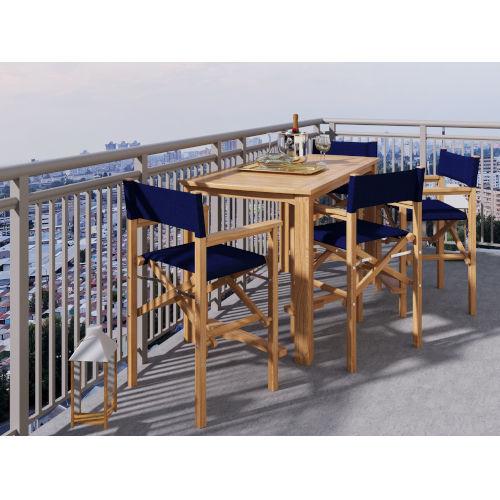 Director Natural Sand Teak Blue Counter Height Outdoor Set