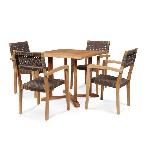 Herning Brown Square Teak Table Outdoor Dining Set, 5-Piece
