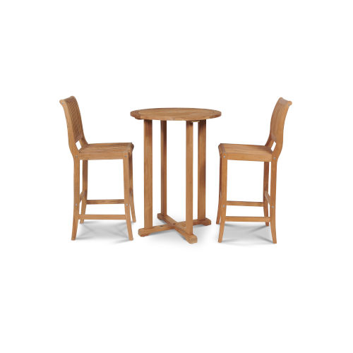 Palm Nature Sand Teak Teak Round Table Bar Height Outdoor Dining Set, 3-Piece