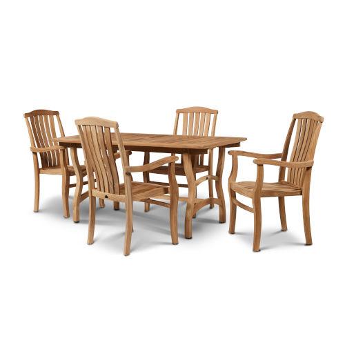 Pacifica Nature Sand Teak Teak Rectangular Table Outdoor Dining Set, 5-Piece