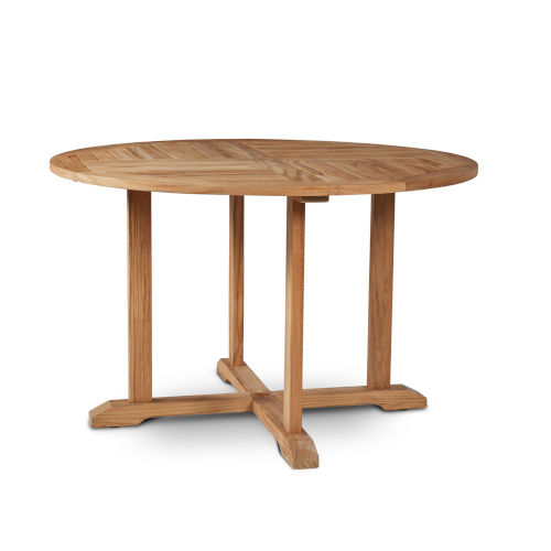 Curtis Nature Sand Teak 47.25-Inch Dia Round Teak Outdoor Dining Table with Umbrella Hole