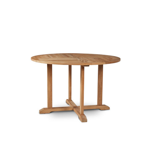 Curtis Nature Sand Teak 35.5-Inch Dia Round Teak Outdoor Dining Table with Umbrella Hole