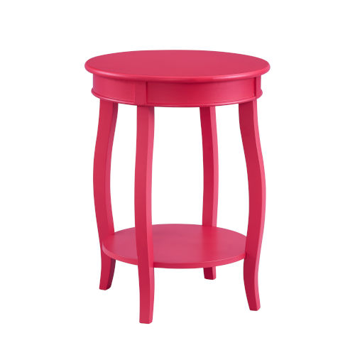 Pink Round Table with Shelf