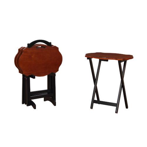 Serpentine Hazelnut and Black Folding Tray Tables