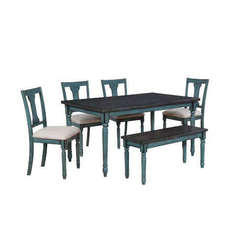 Willow Teal Blue Dining Set, 6 Piece
