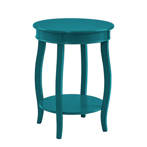Teal Round Table with Shelf