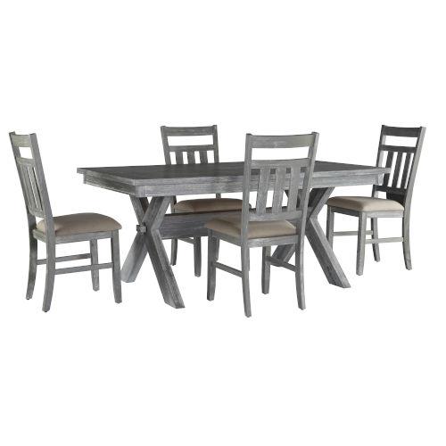 Turino Grey Oak Stain Dining Set, 5 Piece Set