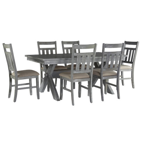 Turino Grey Oak Stain Six Chairs and One Table Dining Set