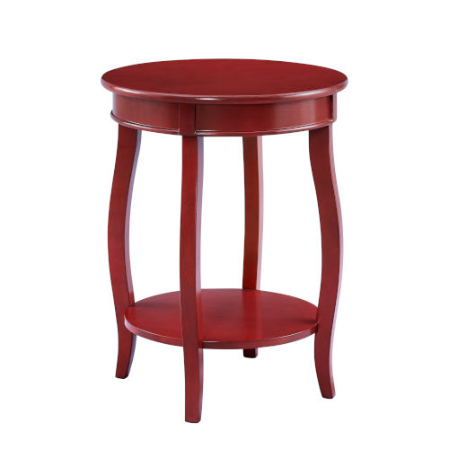 Olivia Red Round Table with Shelf