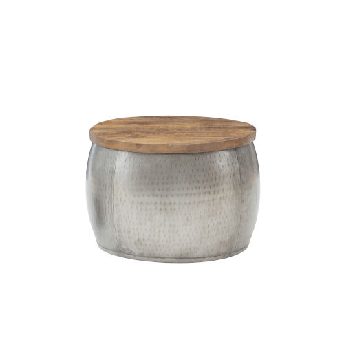Leah Silver Small Storage Drum with Wooden Lid