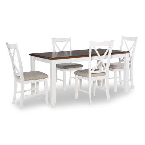 Chloe White and Brown Dining Set, 5 Piece Set