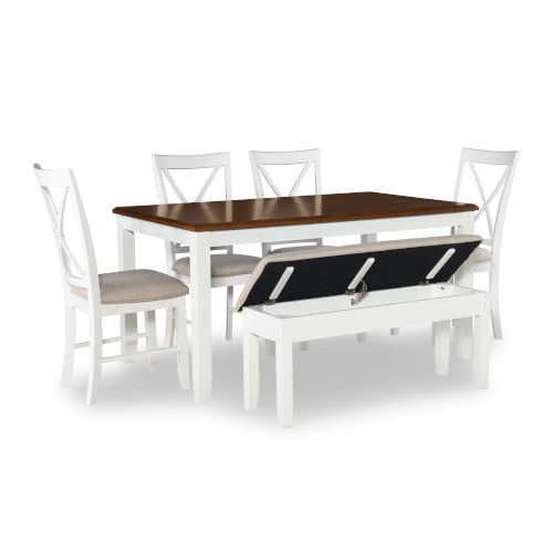 Jane White and Brown Dining Set, 6 Piece Set