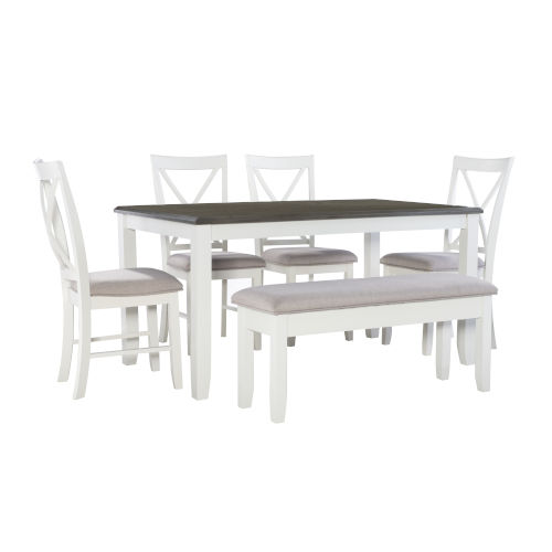 Jane Dark Grey and White Dining Set, 6 Piece Set