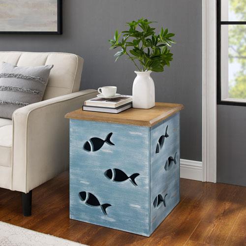 Gareth Blue Square Fish Table