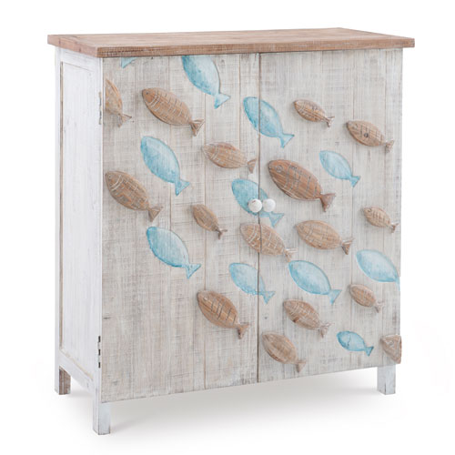 Caspian Natural and Distressed White Console Cabinet