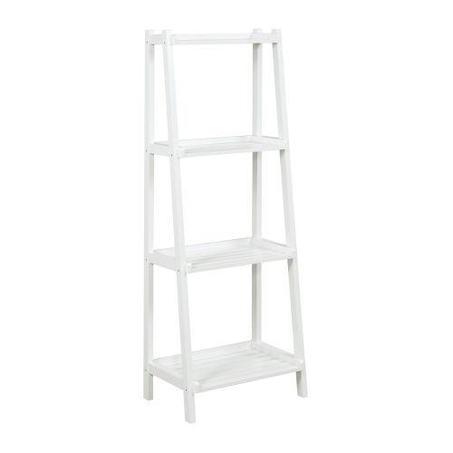 Dunnsville White 4-Tier Ladder Leaning Shelf Bookcase