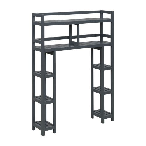 Dunnsville Graphite 2-Tier Space Saver with Side Storage