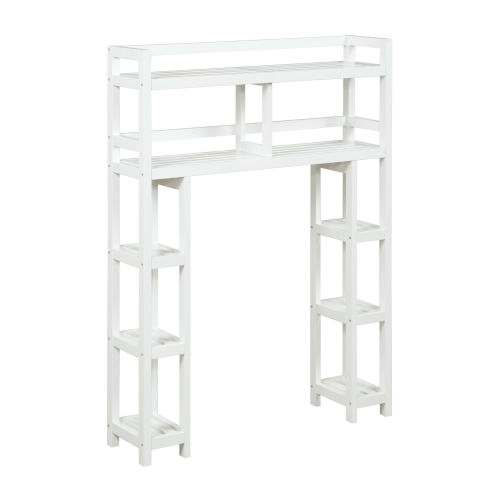 Dunnsville White 2-Tier Space Saver with Side Storage