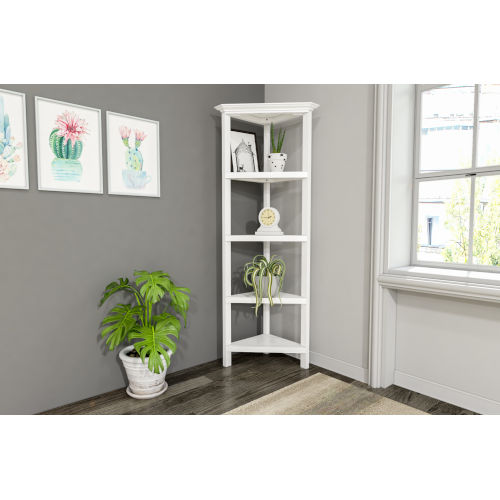 White 4-Tier Corner Bookcase