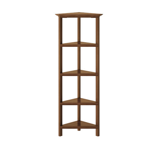 Walnut 4-Tier Corner Bookcase