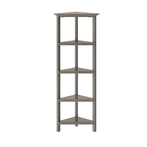 Washed Grey 4-Tier Corner Bookcase