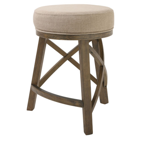 Regal Cream and Brown 26-Inch Counter Height Swivel Stool