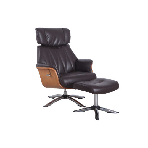Cally Espresso Breathable Air Leather Manual Recliner and Ottoman