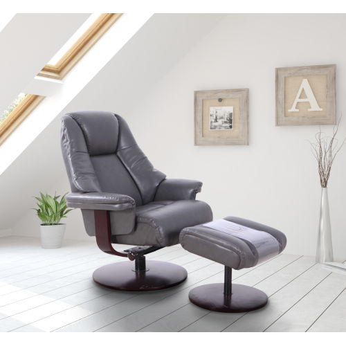 Lido Charcoal Breathable Air Leather Manual Recliner and Ottoman