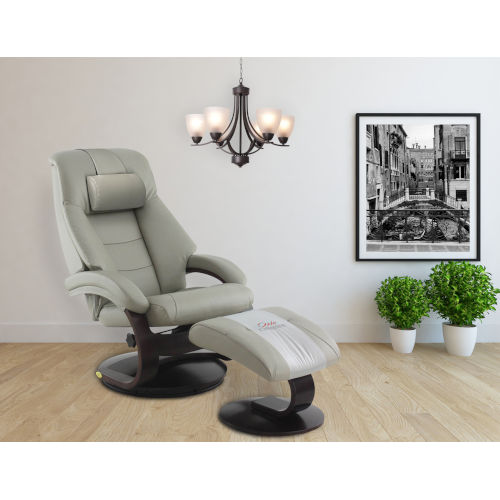 Milan Putty Top Grain Leather Manual Recliner and Ottoman