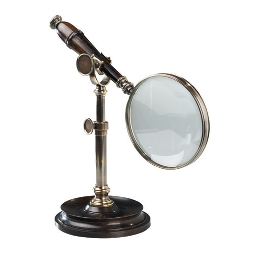 Bronzed Brass Magnifying Glass with Stand