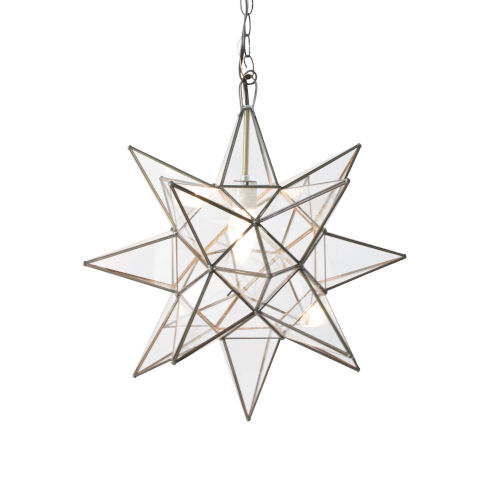 Antique Brass and Clear Glass 15-Inch Star Chandelier