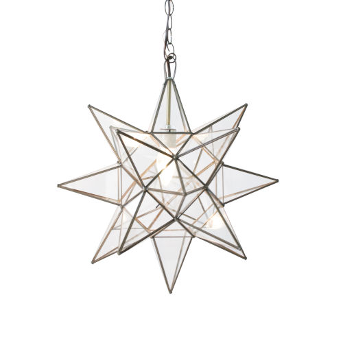 Antique Brass and Clear Glass 20-Inch Star Chandelier