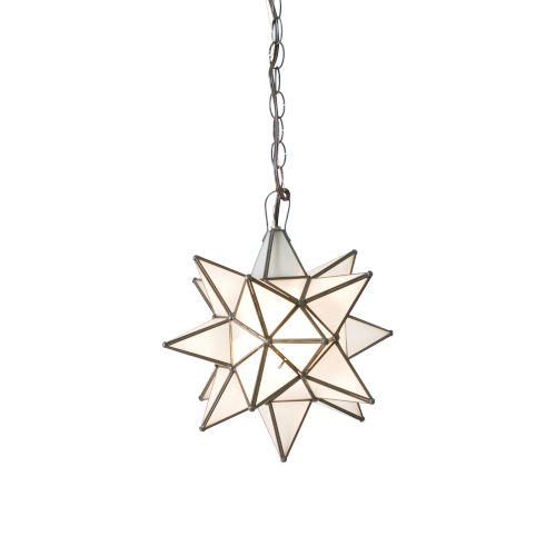 Antique Brass 12-Inch Frosted Star Chandelier